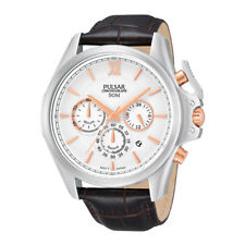 Pulsar PT3441 44mm Stainless Steel Case Black Leather Chronograph Men's Watch