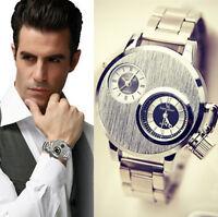 Men's Date Military Sport Watch Stainless Steel Dial Quartz Analog Wrist Watch