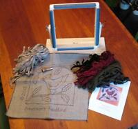 "Complete Beginner Rug Hooking Kit - 12"" x 12"" Frame, Pattern, Wool, & Hook"