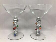 "Pair Lot 2 Decorative Glass 6"" Martini Glasses Wire Beads Multi-Colored"