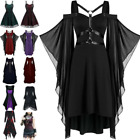 US Women Retro Victorian Gothic Medieval Witch Costume Fancy Dress Party Cosplay