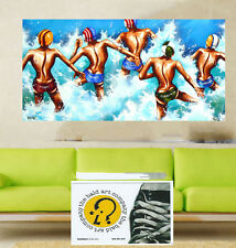 """32"""" ART PRINT BEACH SURF PAINTING canvas large Abstract Australia surfing"""