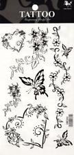 Temporary Tattoo Butterfly Hearts Flowers Body Art Removable HM086