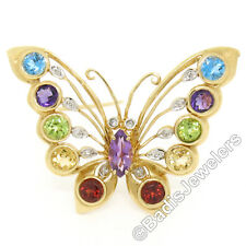 14k ORO AMARILLO 3.12ct Multi Coloreadas Gema Natural & Diamante Broche Mariposa