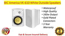 BIC America VK-610 White Outside Waterproof 160w Speakers Gold Plated Connectors
