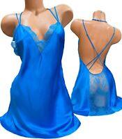 Victorias Secret Satin Chemise Slip Nightie Medium Blue