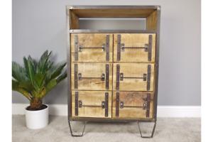 Industrial Look Wood & Metal Storage Unit with Drawers