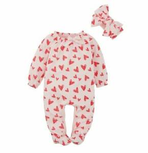 Mud Pie Valentine's Day Heart Footed Sleeper and Bow Head Wrap  0-3M 3-6M