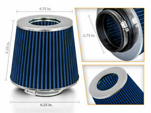 """2.75"""" Short Ram Cold Air Intake Filter Round/Cone Universal BLUE For Jeep 1"""