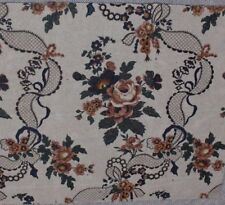 French Antique Block Printed Roses&Lace Ribbons Chintz Artwork On Paper c1840-60