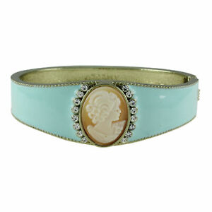 "HSN AMEDEO ""Florence"" 20mm Cameo Enamel Bracelet 14K Yellow Gold Over"