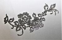 COURONNE FLEURS GRIS FONCE - TITANE -  Patch termocollant  hotfix Glitter 13 cm