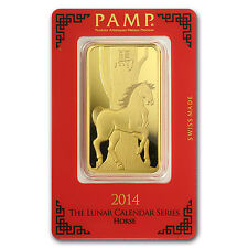 100 gram Gold Bar - PAMP Suisse Year of the Horse (In Assay) - SKU #80095