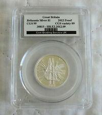 2012 £1 BRITANNIA SILVER PROOF SLABBED CGS 99 - 25th ANNIV PORTRAIT COLLECTION c