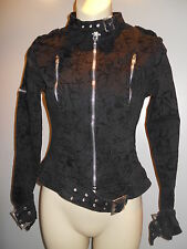 Nos Collectiff Black Rose Anchor Coat Jacket Motorcycle Rockabilly Psychobilly S
