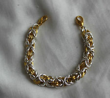 Silver  Gold Byzantine Chainmaille Med ID Tarnish Resistant Replacement Bracelet