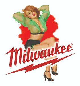MILWAUKEE TOOLS STICKER DECAL KISS SEXY GIRL MECHANIC GLOSSY LABEL TOOL BOX USA