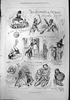 Old Print Humours Past Month April Retrospective View All Fools Day 1877 19th