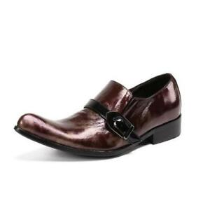 Men's Fashion Pointy Toe Buckle Strap Leather Shoes Youth Party Dress Shoes N158