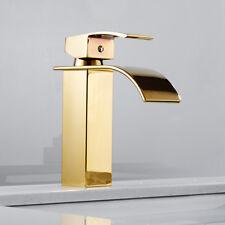 Modern Gold Bathroom Waterfall Tap Basin Mixer Taps Single Lever Brass Faucet