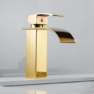 Morden Bathroom Taps Waterfall Basin Mixer Tap Brass Cloakroom Faucets Gold //