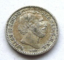 NETHERLANDS 10 CENTS 1887, WILLEM III, .640 SILVER. AEF LIGHT TONE. KM#80