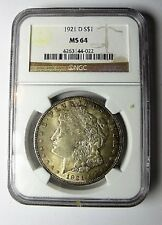 1921 D MORGAN DOLAR VAM 1K2 Die Break 5th Left Star NGC MS64 FINEST KNOWN TONED