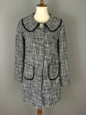 Tulle Anthropologie Tweed Boucle Car Coat Black White Vegan Leather Trim Sz S