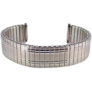 Mens Silver Colour Expanding Stretchy Watch Strap Expandable Bracelet 18 20 22mm
