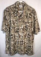 Trader Bay Men's Hawaiian Aloha Brown Floral Map Short Sleeve Shirt Size L