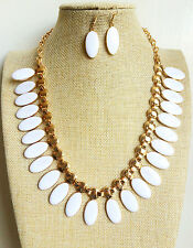 Retro Gold Chain Plated White Oval shape Enamel fashion Necklace Earrings Set