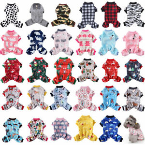 Small Pet Dog Jumpsuit Pajamas Warm Fleece Cute Clothes Puppy Cat Coat Homewear