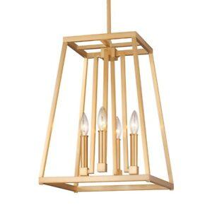 Feiss Conant 4 Light Pendant, Gilded Satin Brass - F3149-4GSB