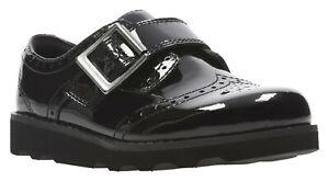 BNIB Clarks Girls Crown Pride Black Patent Leather School Shoes