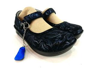Alegria Belle Slickery Slim Mary Jane Shoes Black Blue Glitter Euro 35 US 5- 5.5