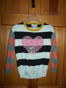 Girl's Nine 1 Eight Black & White Pink/Grey Sweater Pink Sequin Heart Size Small