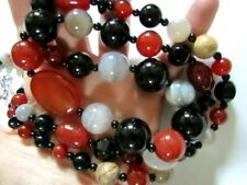 Designer Jay King Gorgeous Carnelian Black Onyx Agate Long Necklace Sterling Cla