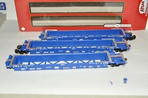 HO Atlas Pacer StackTrain BRAN Thrall 53' articulated containers well car set