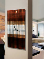 Statements2000 Metal Wall Clock Art Brown Silver Abstract by Jon Allen Nocturnal