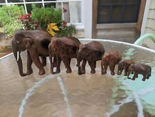 Hand Carved Hard Wood Elephant Herd Sculpture Figurines