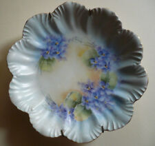 FINE SIGNED PAINTED PLATE CHINA BLUE PURPLE FLOWERS  WALL HANGING INCLUDED