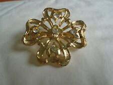 Flower Brooch With White Stone's Marked ORNK