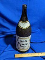 Huge Beer Bottle Advertising Meister Brau Pledge VTG Half Gallon Draft Painted