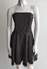 Estam U.S.A Small Pinup Rockabilly Black Polka Dot Lace Spagehtti Strap Dress