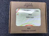 3pcs Twin Size Organic Cotton Bed Sheet Set 600 TC, Yellow Circle Floral