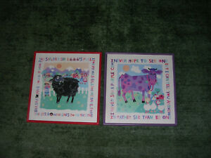 Set of 2 Nursery Rhyme Wall Decor  Black Sheep & Purple Cow Pictures