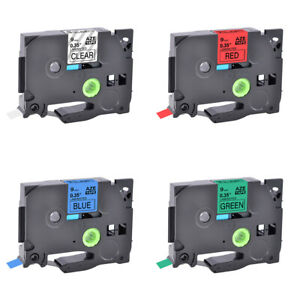 """4×Compatible for Brother TZ TZe 121-721 3/8"""" Clear/Red/Blue/Green Label Tape"""