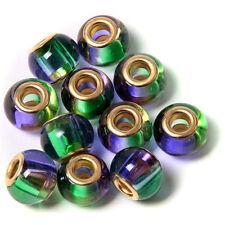 20pcs Purple&Green Glass Golden Core Bead Fit European Charms Bracelet Craft BS