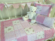 3 pc Linens n Things Mia Girls Baby Cot Quilt Vintage Floral Shabby Chic Set
