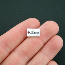 BULK 50 Love Charms Antique Silver Tone 2 Sided Word Tag - SC2615